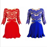 Drop Shipping Fashion shades of red Lace splicing dress 2014 new LS068