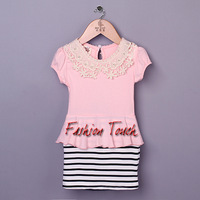New Arrival Kid Stripe Dresses Baby Pink Cotton Dress Girls 2014 Newest Fashion Dresses For Children Wear Ready Stock GD40224-17