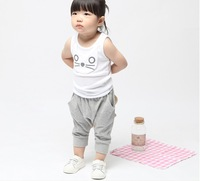 2014 new arrival baby unisex summer sleeveless tops male female child cat sets casual vest big PP pants suit free shipping