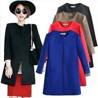 Autumn and winter hot-selling 2014 women's brief woolen outerwear medium-long o-neck woolen overcoat LS066