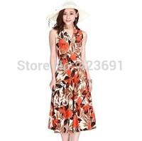 Good quality soft and comfortable milk silk long dress V-neck sleeveless one-piece dress plus size full dress