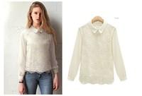 214 spring women's slim peter pan collar chiffon shirt organza lace basic shirt female