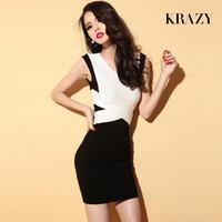 Krazy sculpture curve slim elastic knitted fashion color block double V-neck 6119 slim knit dress