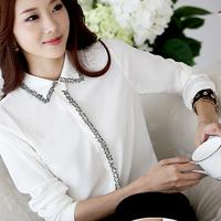 2014 spring women's shirt slim ol chiffon shirt female chiffon long-sleeve basic shirt