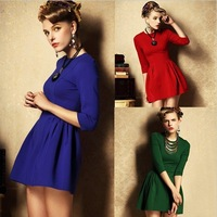 hot sale dresses new fashion 2014 women Dresses office Spring summer casual dress women short sleeve novelty maxi dresses LS067