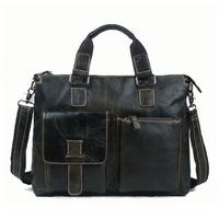 2014 New Vintage Casual Style Genuine Leather Briefcase For Men 14 Inch Laptop Computer Shouder Bag Handbag Messenger Bag