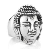 Size 6.5-11 Sakyamuni Buddha ring 316L Stainless Steel fine jewelry US wholesale rings new hot BR8-076