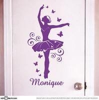 Custom name ballerina ballet dancer wall sticker vinly decal for girls room removable wall art home sticker