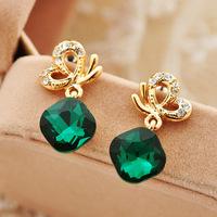New 2014 Korean fashion crystal bow earrings non pierced ear clip Stud jewelry spiral 0