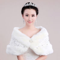 Free shipping!!  Fashion Rainbow rhinestone thickening lace white married cape winter bridal wedding dress fur shawl