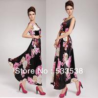 2014 New Spring Summer Off Shoulder O-neck Ankle-Length Dresses Elegant Peony Colorful Women's Bohemian Dresses Sundress