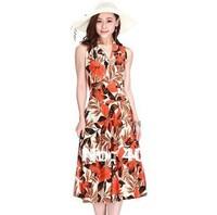 Good quality brand new soft comfortable elegant fashion female milk silk sleeveless V-neck full dress