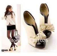 2012FASHION NEW Sexy Lady Beige Bow Pump Platform Women High Heel Shoes Women pumps free shipping