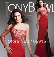2014 Dynamic Unique Red One Long Shoulder With Sparking Beads And Crystals Mermaid Prom Dresses Evening Dresses Chiffon HK-59