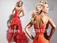 New Beading Bodic Sweetheart High Low Ruffle Prom Dresses New 2014 Evening Dresses New Arrival