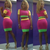 Free shipping Novelty Dress For 2014 Colorful Bodycon Dress Women Sexy Evening dress Bandage Outfit neon 5603