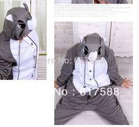 Free Shipping 2014 New Unisex Men Women Adult  Rhinoceros Pajamas Cosplay Costume Animal Onesie Rhino Sleepwear S M L XL