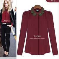2014 Europe Nameplate Women Blouses Shirts Fashion Slim Gold thread embroidery collar Long sleeve Chiffon Shirt White Black Red