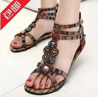 2014 female sandals flat heel sandals flat national women's trend shoes beaded shoes
