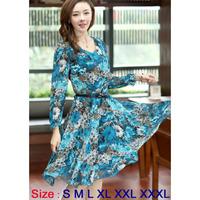 Hot  Sale Women Clothing Dresses New Fashion 2014 Autumn -Summer Casual Dress Print Dress Chiffon 6 Size  S M L XL XXL XXXL