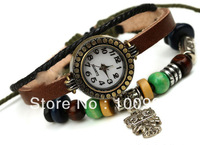 Free Shiping wholesale leather cord alloy charms women dress watch bracelet watch women  PK-S054