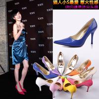 Туфли на высоком каблуке Fashion European Sexy Gold Thin Heel Pointed Women's Pumps Sexy Women Wedding Shoes Shallow Mouth Women Pumps Black