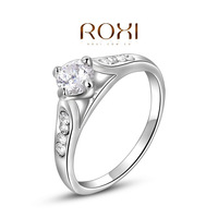 Fashion Accessories Jewelry 18K Gold Plated Austria Crystal Full CZ Diamond Engagement Promise Gorgeous Wedding Rings for Women