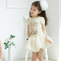 summer 2014 the latest Korean princess skirts children 100% cotton all-match Three-dimensional roses skirt high-quality