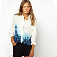 New Fashion Women's Elegant Long Sleeve turn-down Collar Shirts Plus size Blue Floral Print Casual Loose Vintage Blouses Tops