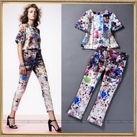 2014 spring and summer new women's runway fashion flowers print top and trousers casual set