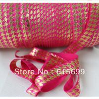 Hound Stooth Gold Foil FOE Ribbon-100Yards #175 shocking Pink Fold Over Elastic Ribbon-Factory Custom Printed Ribbon