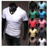 2014new Men's fashion slim short sleeve T-shirt, pure color ten colors men short sleeve t shirt