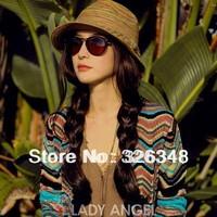 Free shipping!Hot selling 2014 Straw hat Bohemia summer female colorful Grain leisure straw hat big grain eaves sunhat beach hat