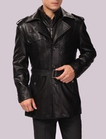 2014 men's clothing medium-long leather trench male small leather coat male plus size men jacky 4xl