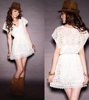 Party Club Women White Deep V Neck Vestido Lace Dresses Short Sleeve New 2014