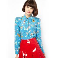 New Fashion Women's Cute Long Sleeve turn-down Collar Shirts Cartoon Little Bear Print Chiffon Slim Casual Blue Blouses Tops