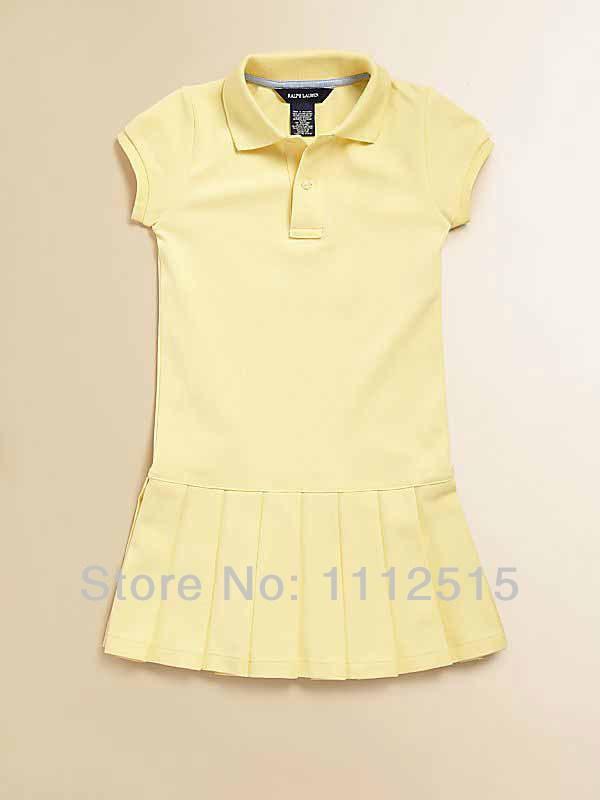 Free shipping new 2014 kids Polo clothing ruffles princess anti-pilling girls dress 100% Cotton Children's dresses 341(China (Mainland))