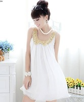 2014 New Arrival Gold Paillette Chiffon Collar Stylish Tank Dress Hot Sale New Style Spaghetti Strap One-Piece Dress In Summer