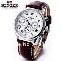 HOT SALE Luxury Brand Swiss Binger Watches Men Mechanical Hand Wind Leather Strap Fashion Watch Skeleton Self-wind wristwatch