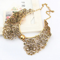 New 2014 Vintage Gold Alloy Hollowed Flower False Collar Choker Statement Bb Necklace Fashion Jewelry Hot Selling Items CJ0018