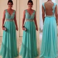 2014 New Years Lace Evening Dress Green vestidos de chiffon A Line Floor Leength Chiffon Prom Gowns