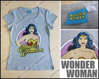 free shipping Wonder woman vintage sexy grey cotton t-shirt short-sleeve slim female
