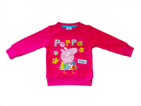 FREE SHIPPING 18m/6y kids wear 2014 girl's fashion Spring clothing applique peppa pig baby girl long sleeve T-shirts