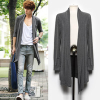 New arrival 2014 autumn trench cardigan men's clothing outerwear medium-long male trench coat k442