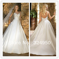 2014 Spring New Arrival A-Line V-Neck Spaghetti Straps Court Train Satin Sexy Backless Wedding Dress/Bridal Gowns YZ022705