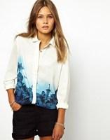New Hot Women Sweet Blue Floral Pattern Turn- Down Collar Chiffon Blouse Tops Casual Female Button Shirt Long Sleeve
