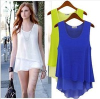 New Fashion women camis Casual Chiffon tanks top lady sexy Loose Sleeveless two layer o neck candy color Tank tops Vest F056