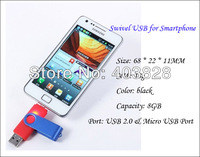 Factory Price Swivel Shape Smartphone 8GB USB Flash Memory Stick for Samsung Mobile Smartphone Dual Port 8GB USB & OTG USB Drive