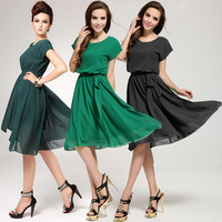 New 2014 Fashion Chiffon Summer Dress Solid  Dress for Summer Wear Women Dresses Girl Dress Brand Party Free Shipping