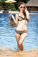 Retail 2014 new design girls sexy leopard print swimsuit swimwear three-piece steel Toby Gini swimsuit Free Shipping